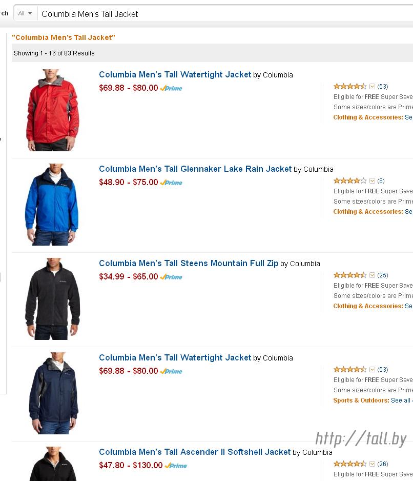Одежда для высоких на Amazon