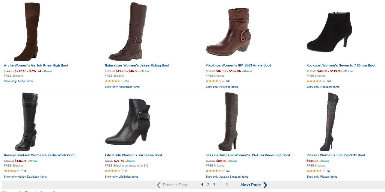В магазине Аmazon очень большой выбор обуви всех размеров