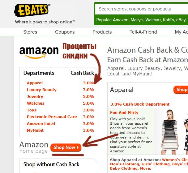 Скидки в магазине Amazon