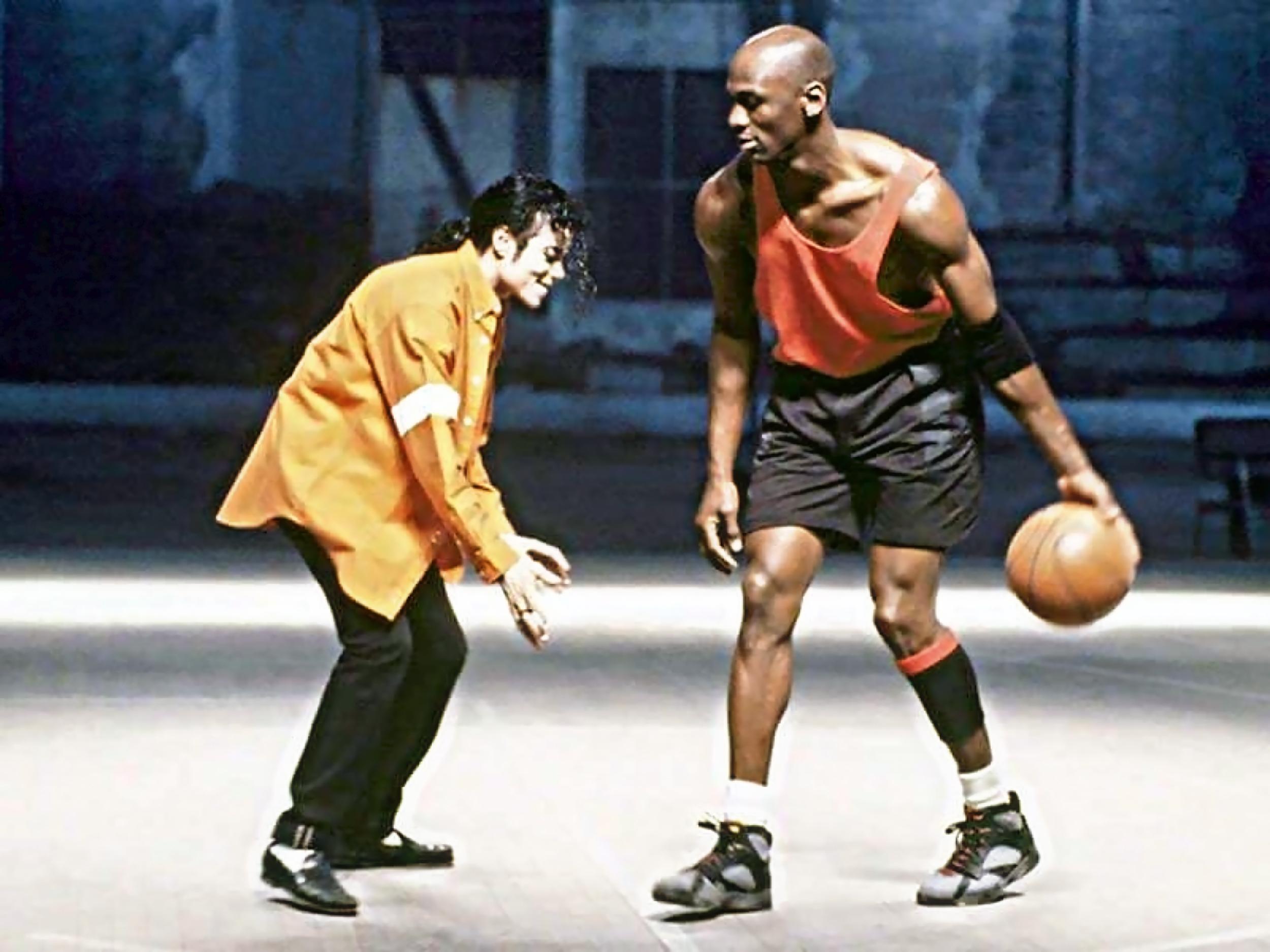 Майкл Джордан на съемках клипа с Майклом Джексоном