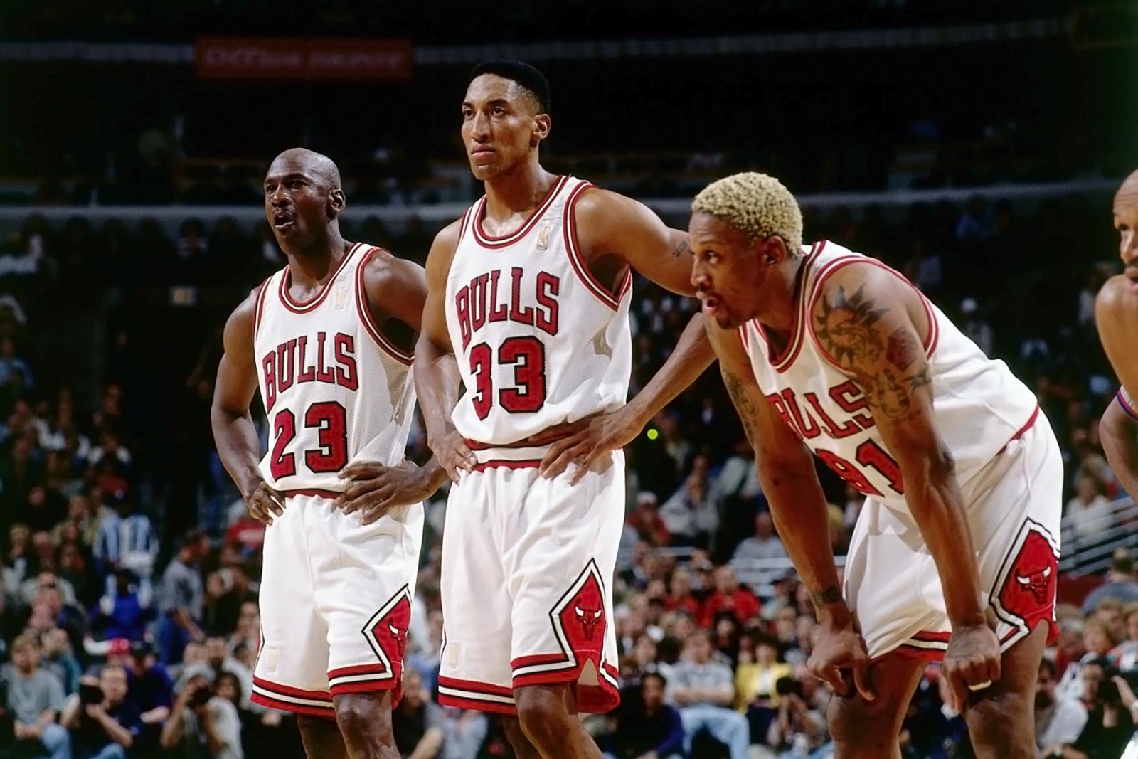 Майкл Джордан, Скотти Пиппен и Деннис Родман в сезоне 1996-97